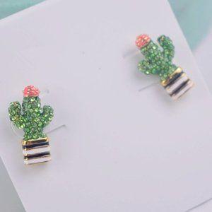 Full Diamond Enamel Color Glaze Cactus Earrings